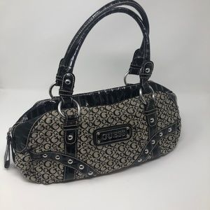 Guess Black & Silver Shoulder Bag Heart Lining